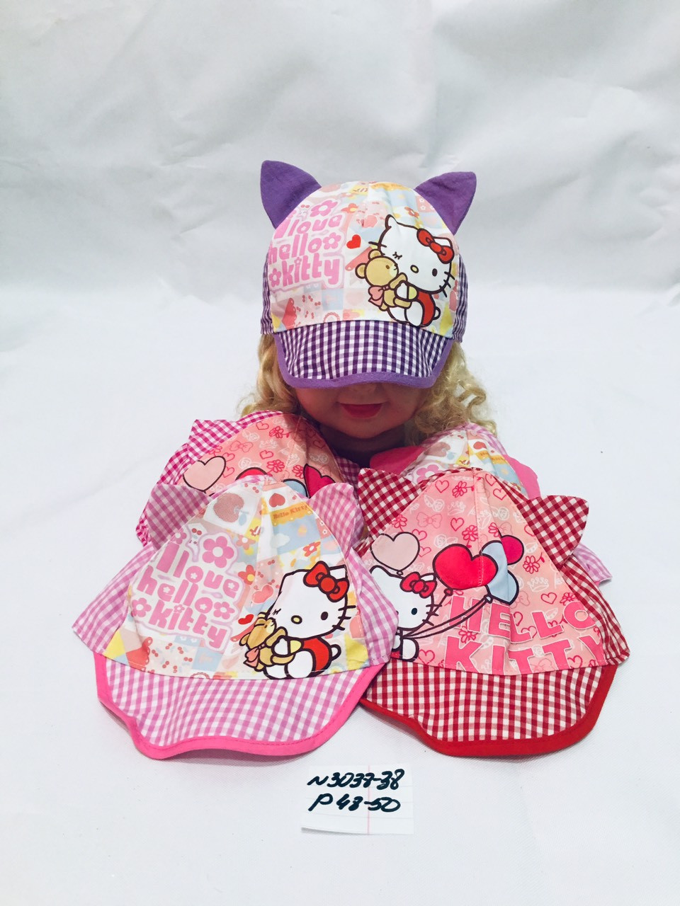 Летняя панамка для девочки Hallo Kity с ушками р.48-50