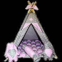 Вигвам Хатка комплект Бонбон Принцесса Розовый с серым с подушками