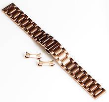 Браслет для годинника ELITE з нержавіючої сталі + Півмісяць. 18 мм. Червоне золото