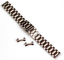 Браслет для годинника ELITE з нержавіючої сталі + Півмісяць. 18 мм. Срібло з елементами золота