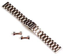 Браслет для годинника ELITE з нержавіючої сталі + Півмісяць. 20 мм. Срібло з елементами золота