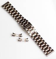 Браслет для часов ELITE из нержавеющей стали + Полумесяц. 22 мм. Серебро с золотыми элементами