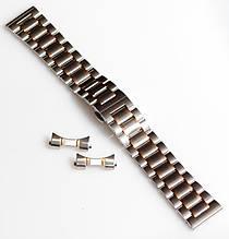 Браслет для годинника ELITE з нержавіючої сталі + Півмісяць. 22 мм. Срібло із золотими елементами