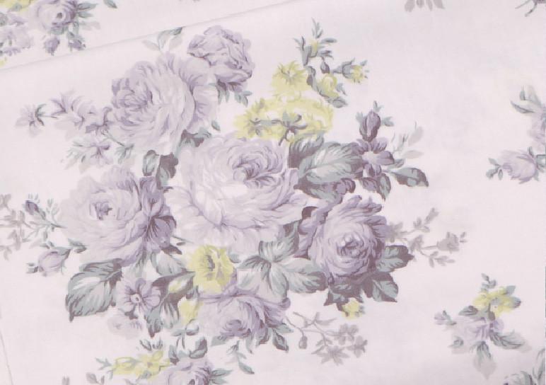 Сатин-твил Розы серо-мятно-салатовые