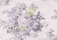 Сатин-твил Розы серо-мятно-салатовые, фото 1