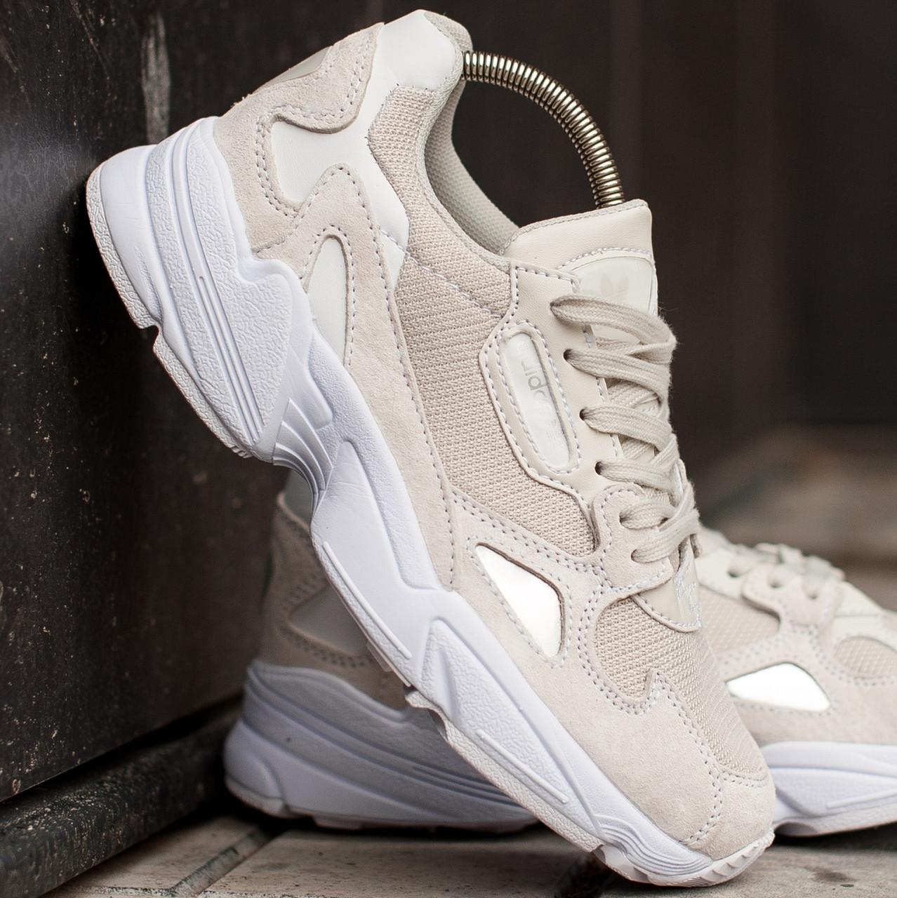 Женские и мужские кроссовки Adidas Falcon Cream/White