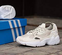 Женские и мужские кроссовки Adidas Falcon Cream/White, фото 2
