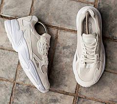 Женские и мужские кроссовки Adidas Falcon Cream/White, фото 3