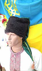 Козацька шапка зі штучного хутра, зелений шлик