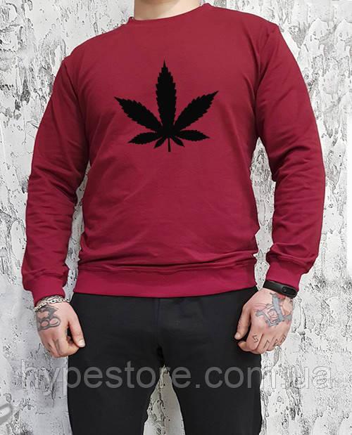 Мужской спортивный бордовый свитшот, кофта, лонгслив, реглан марихуана, канабис
