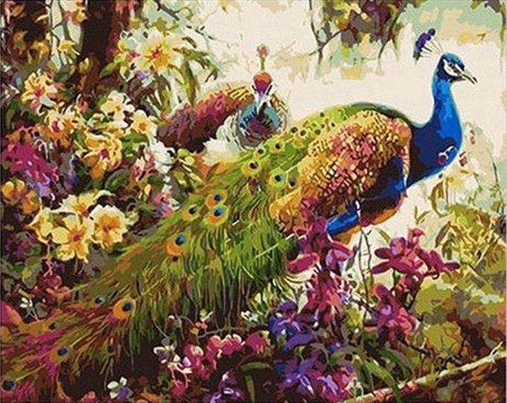 Картина раскраска по номерам на холсте 40*50см  Mariposa Q348 Сказочные павлины