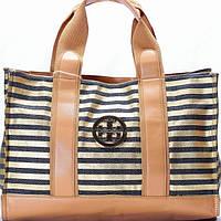 Женская сумка Tory Burch  в черную полоску