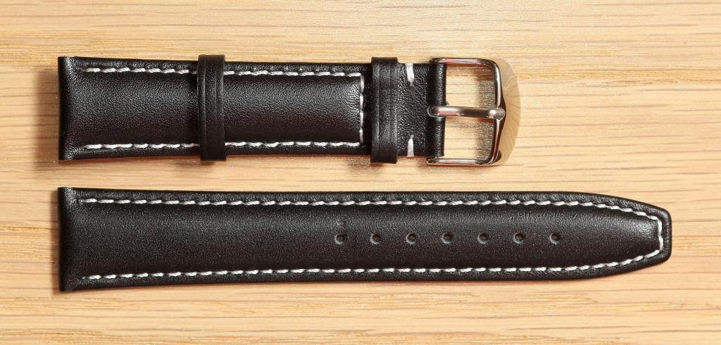 Ремешок для часов Hightone из натуральной кожи. 20 мм, Черный с белой строчкой