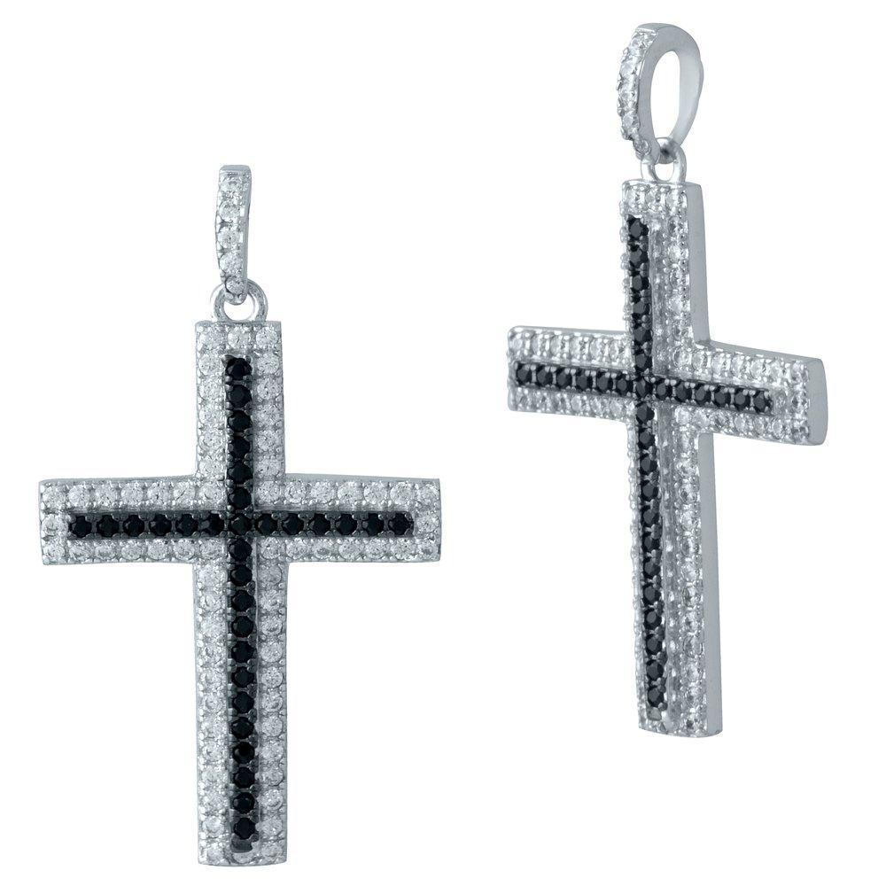 Родированный серебряный крестик 925 пробы с фианитами