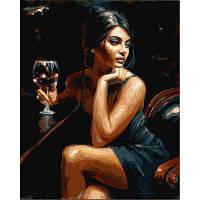 Картина раскраска по номерам на холсте 40*50см Babylon VP890 Девушка с бокалом Бордо