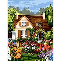 Картина раскраска по номерам на холсте 30*40см Babylon VK094 Домик среди цветов