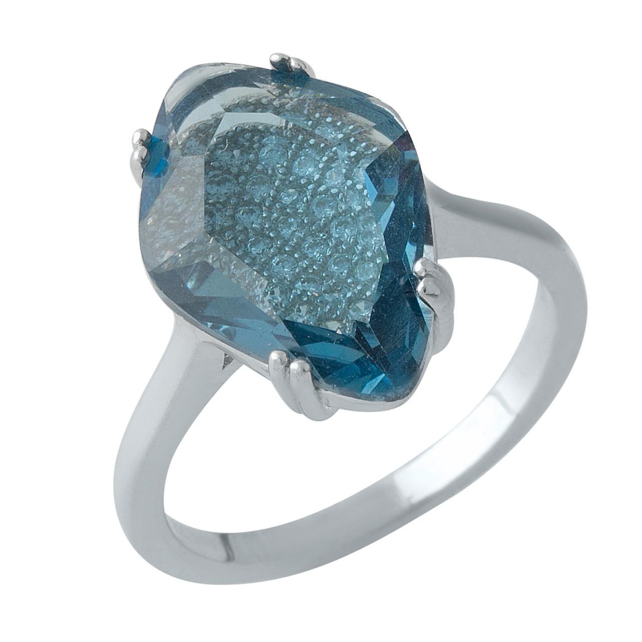 Родированное серебряное кольцо 925 пробы с топазом nano Лондон Блю