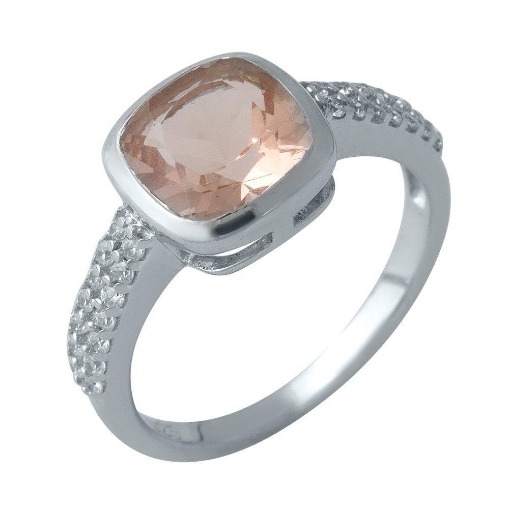 Родированное серебряное кольцо 925 пробы с морганитом nano