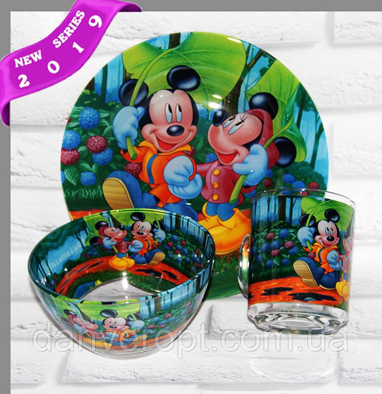 Посуд дитячий DISNEY подарунковий набір 3ка купити оптом зі складу 7км Одеса
