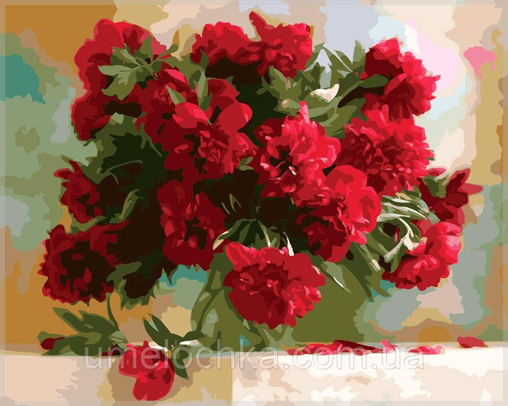 Картина по номерам Идейка Красные пионы KH1133