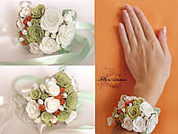 """""""Весенее настроение"""" браслет с цветами на руку для невесты или свидетельницы."""