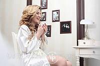 """Свадебный Халатик с надписью  """"Bride"""" из страз.   Айвори, фото 1"""