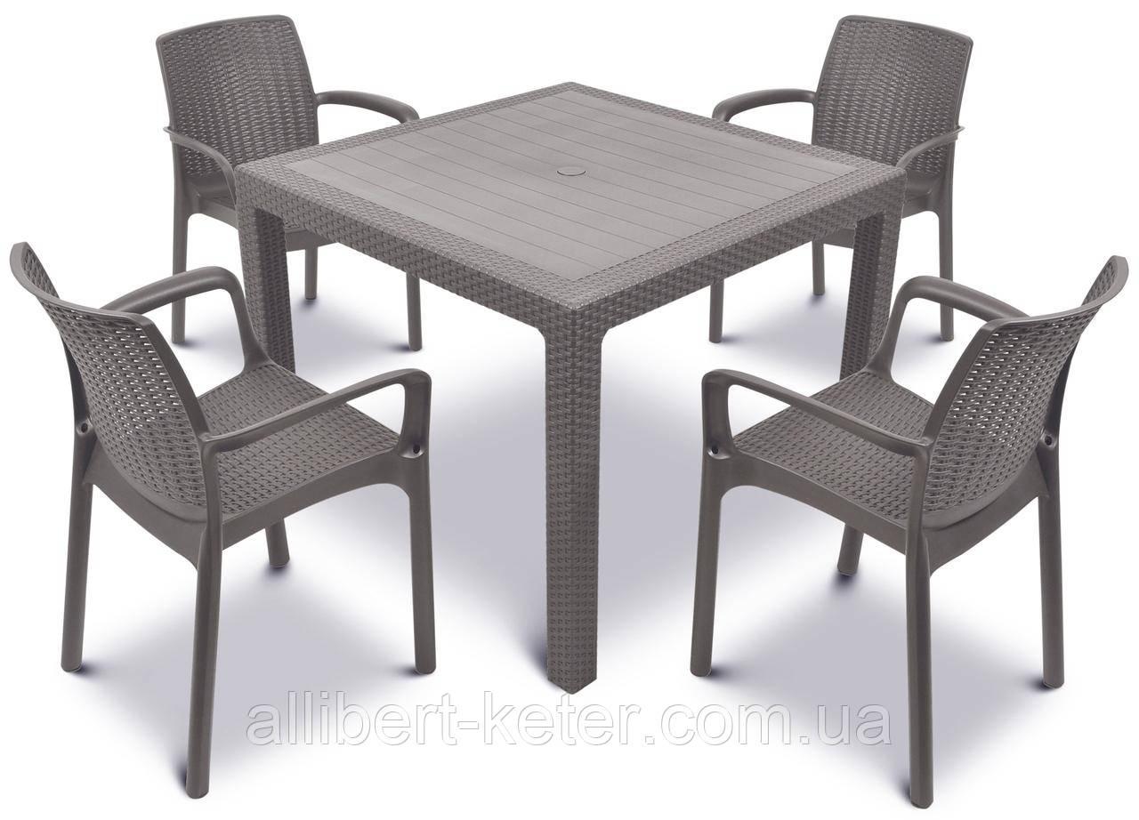 Комплект садових меблів BALI MONO - MELODY QUARTET  (4+1) капучіно (Keter)