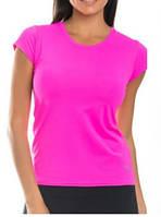 Футболка женская спортивная бифлекс розовая, фото 1