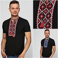 Мужская футболка с вышивкой, стрейч кулир, разные расцветки,  S-3XL р-ры, 245/215 (цена за 1 шт. + 30 гр.)