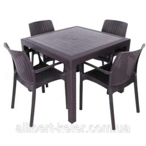 Комплект садових меблів BALI MONO - MELODY QUARTET  (4+1) темно-коричневий (Keter)