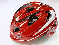 Шлем детский красный для роликов, скейтов, велосипедов с регулировкой по объему головы (р.52-54 см)
