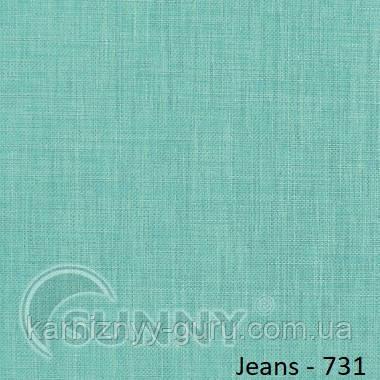 Рулонные шторы для окон в открытой системе Sunny, ткань Jeans