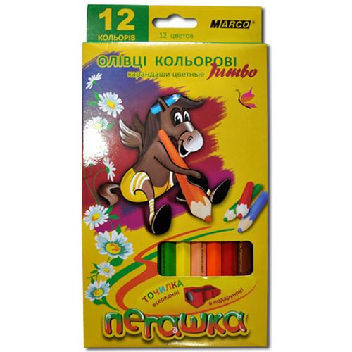 """Карандаши цветные Marco """"Пегашка"""" 12 цв. Jumbo + точилка (1040-12)"""