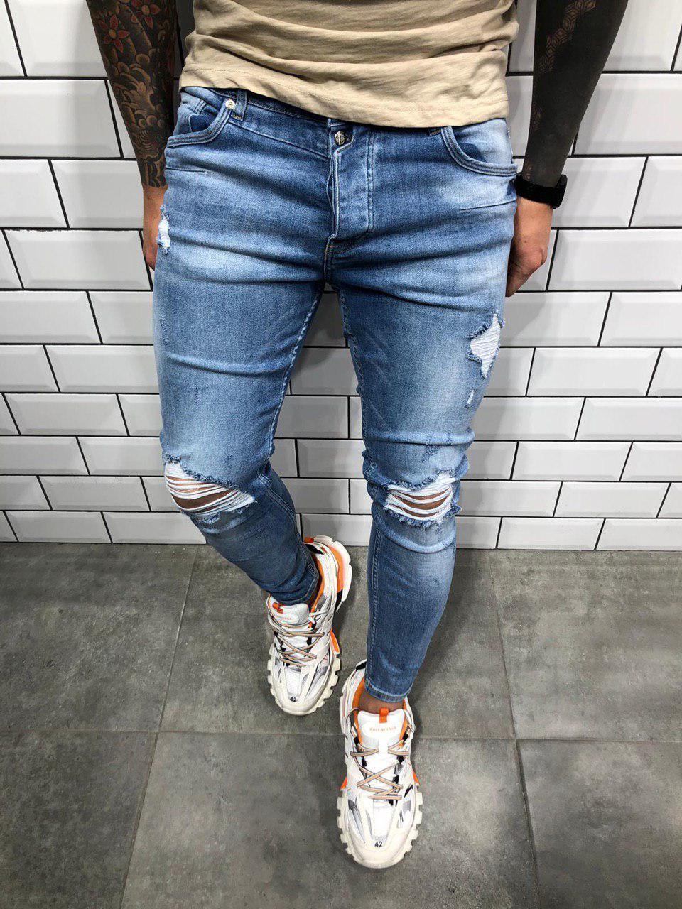 a8176fe656a Джинсы мужские синие рваные зауженные весна лето осень ТОП КАЧЕСТВО мужские  джинсы 30