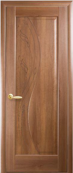 Міжкімнатні двері глухі з гравіюванням Ескада ПВХ DELUX