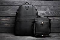 Кожаный комплект: Рюкзак + Барсетка! В стиле Puma Ferarri