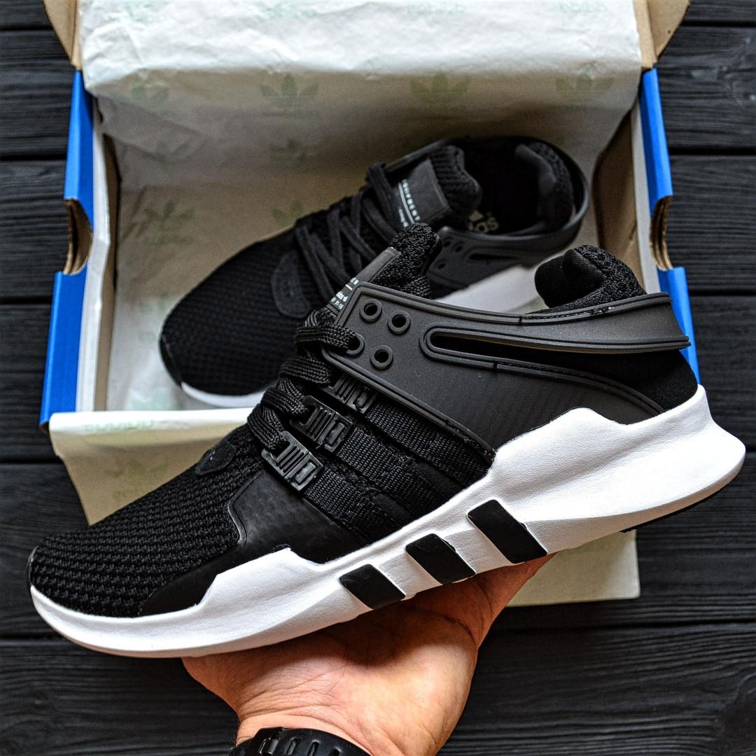 Чоловічі кросівки Adidas EQT ADV Support Black/White. Живе фото. Топ якість! (Репліка ААА+)