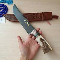 Нож узбекский. Пчак узбекский. Пчак большой-шеф. Косуля, широкая рукоять, гарда олово гравировка. ШХ-15