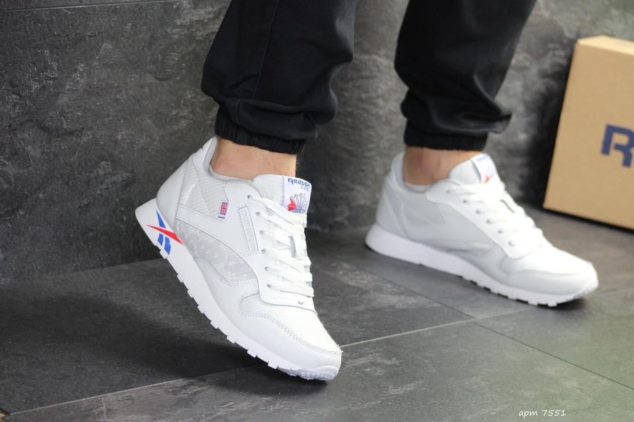 Мужские кроссовки Reebok (бело-синие с красным)