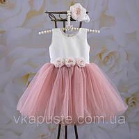 """Платье """"Эмилия"""" с повязкой (белый, молочный, пудра) Размеры от 56 до 116"""