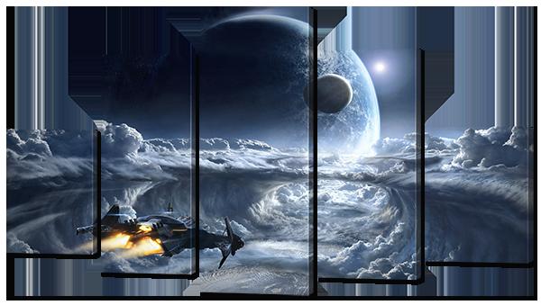 Модульная картина Interno Эко кожа Космический прыжок 142х80см (А784L)