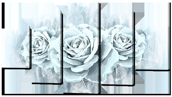 Модульная картина Interno Эко кожа Нежные розы  142х80см (А790L)