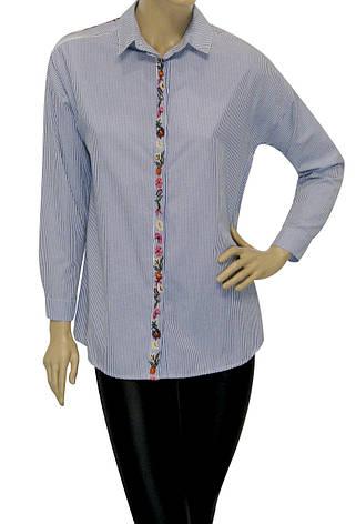 Жіноча сорочка в дрібну смужку  з вишивкою , фото 2