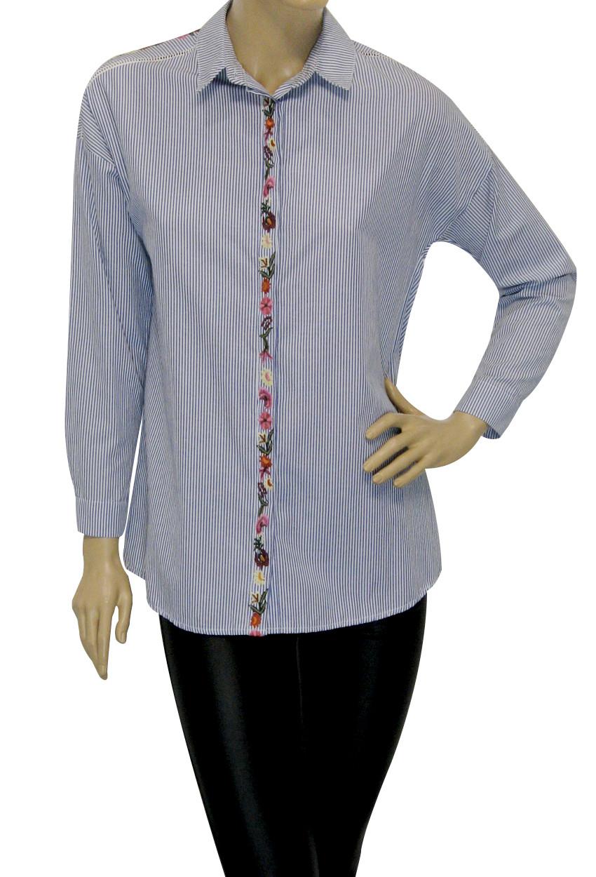 Жіноча сорочка в дрібну смужку  з вишивкою