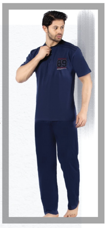 c8bfac2e8367 Пижама Мужская Т.синяя,серый-т.синий Хлопок Falkom 4200 Летняя — в ...