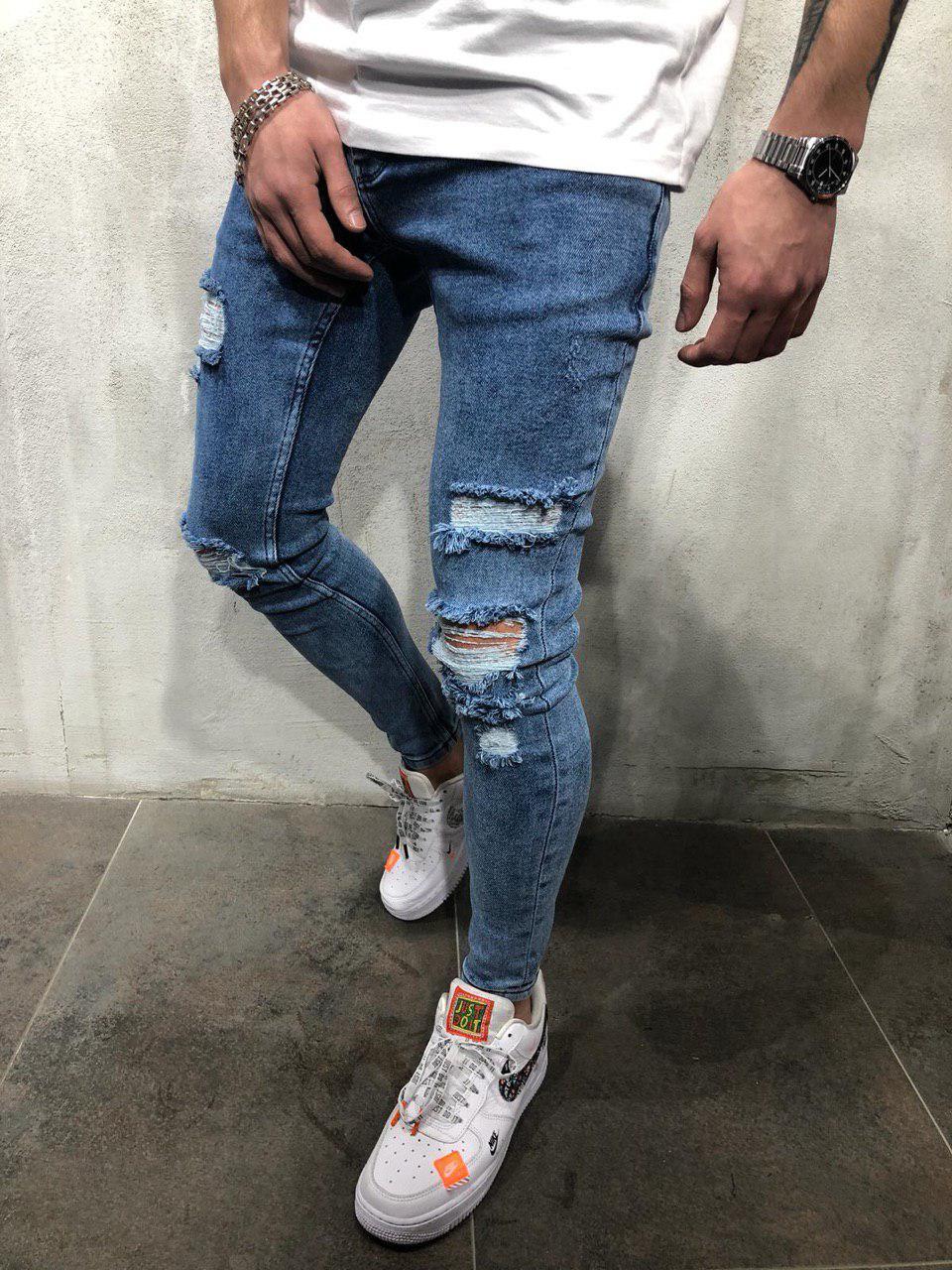 1c8e76e97b4 ... Джинсы мужские синие рваные зауженные весна лето осень ТОП КАЧЕСТВО  мужские джинсы темно-синие