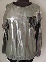 Модный джемпер из мягкого трикотажа с напылением и карманом из паеток (р-р.42-48)  Код 1180М