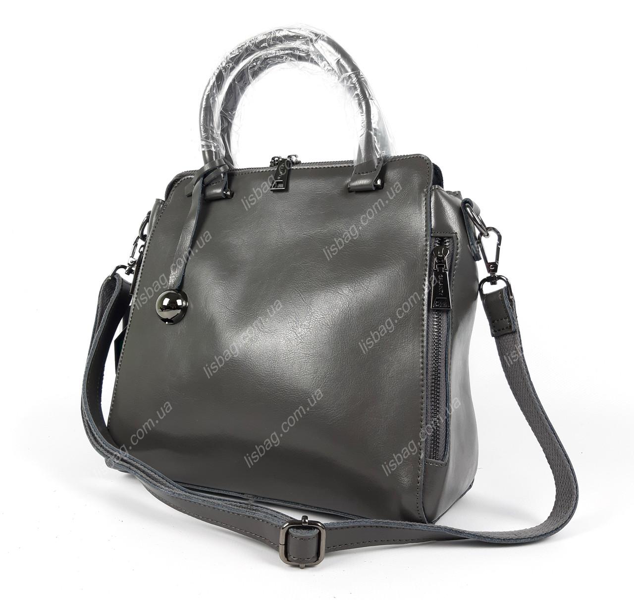 383c4cd203b8 Серая женская вместительная женская сумка из натуральной кожи ...