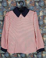 Детская блуза с длиным рукавом в горошек р. 116-134 розовый