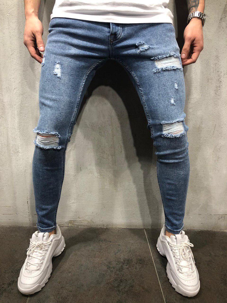 bce2639c340 Джинсы мужские синие рваные зауженные весна лето осень ТОП КАЧЕСТВО мужские  джинсы темно-синие